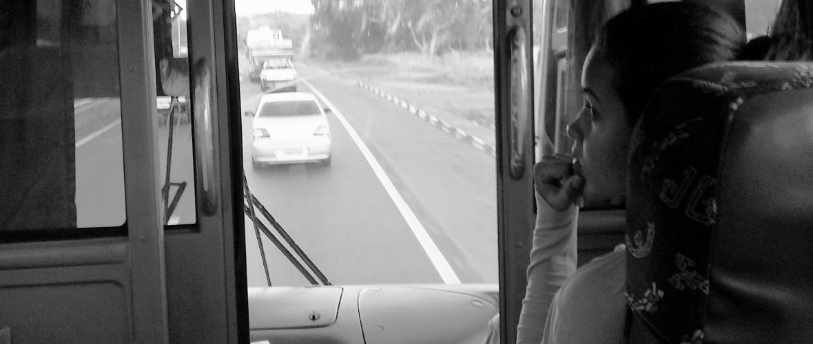 A poltrona 45 é a primeira nos ônibus que saem de Salvador para Monte Santo. Foto: Paulo Oliveira