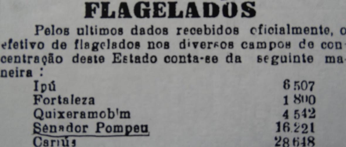Número de nordestino nos campos de concentração do Ceará, publicado em 20/6/1932. Reprodução