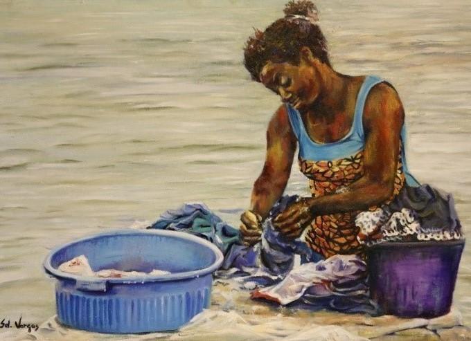 Quadro lavadeira, de  Sel Vargas.