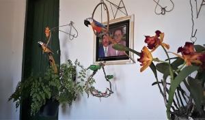 Orquídea e papagaios de madeira diante da fotografia dos pais de Cristóvão. Foto: Paulo Oliveira