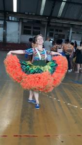 A russa Elena Sahno se apaixonou pela dança junina. Foto: Paulo Oliveira