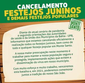 Festas juninas canceladas. Reprodução do Instagram