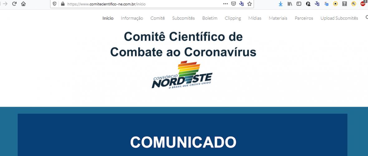 Site do Comitê Científico Nordeste. Reprodução