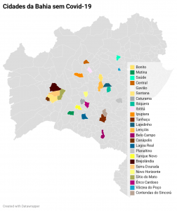 Cidades baianas livres que ainda estão livres da Covid-19. Gráfico: Paulo Oliveira