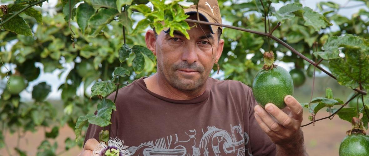 Ginaldo da Silva na plantação de maracujá que cultiva© Thomas Bauer
