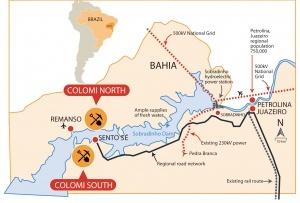 Mapa das áreas de exploração de minério, apresentado pela Colomi Iron. Reprodução