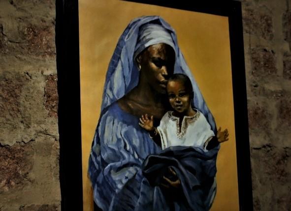 Quadro de Nossa Senhora Negra decora uma das paredes do Instituto Servos de Deus. Foto: Severino Silva