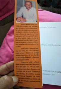 """""""Orelha"""" do livro do escritor canudense Eldon Canário. Reprodução"""