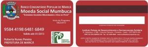 Cartão do banco Mumbuca, em Maricá (RJ). Reprodução