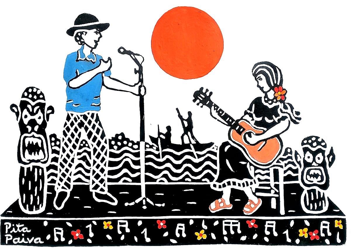 Arte na beira do rio. Capa de um cordel de Josemário Fernandes sobre os festivais de Ibotirama - BA