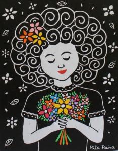 Menina com flores do campo